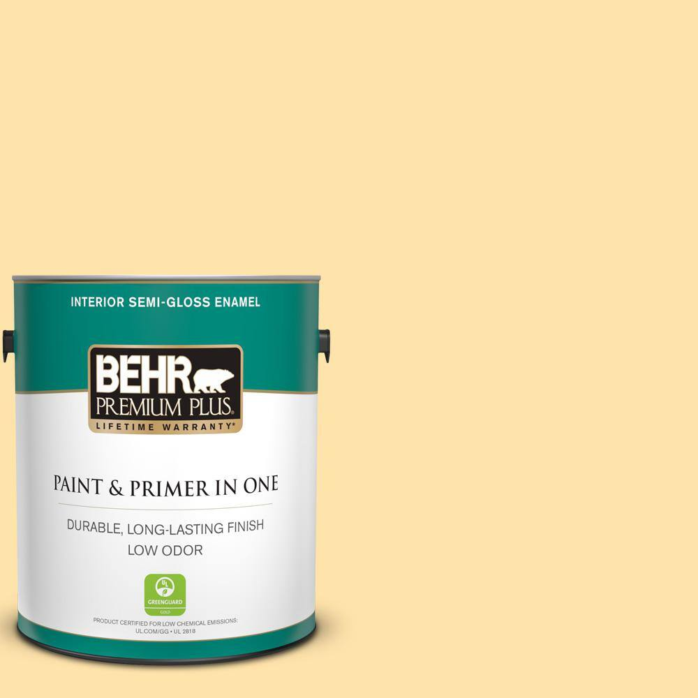 Behr Premium Plus 1 Gal P270 3 Sunflower Seed Semi Gloss Enamel Low Odor Interior Paint And Primer In One 305001 The Home Depot