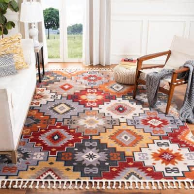 Farmhouse Grey/Red 4 ft. x 5 ft. Abstract Area Rug