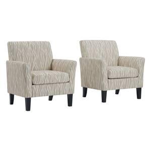 Oatmeal Tan Modern Geometric Maritza Flared Arm Upholstered Chairs (Set of 2)