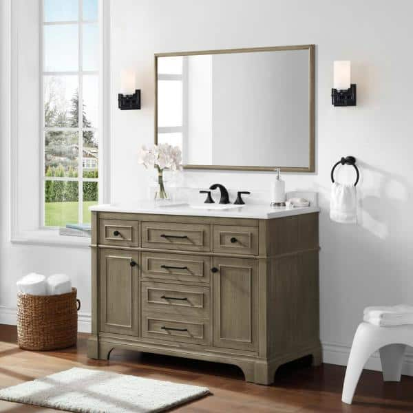 Home Decorators Collection Melpark 48 In W X 30 In H Framed Rectangular Bathroom Vanity Mirror In Antique Oak Melpark Bmr Ao The Home Depot