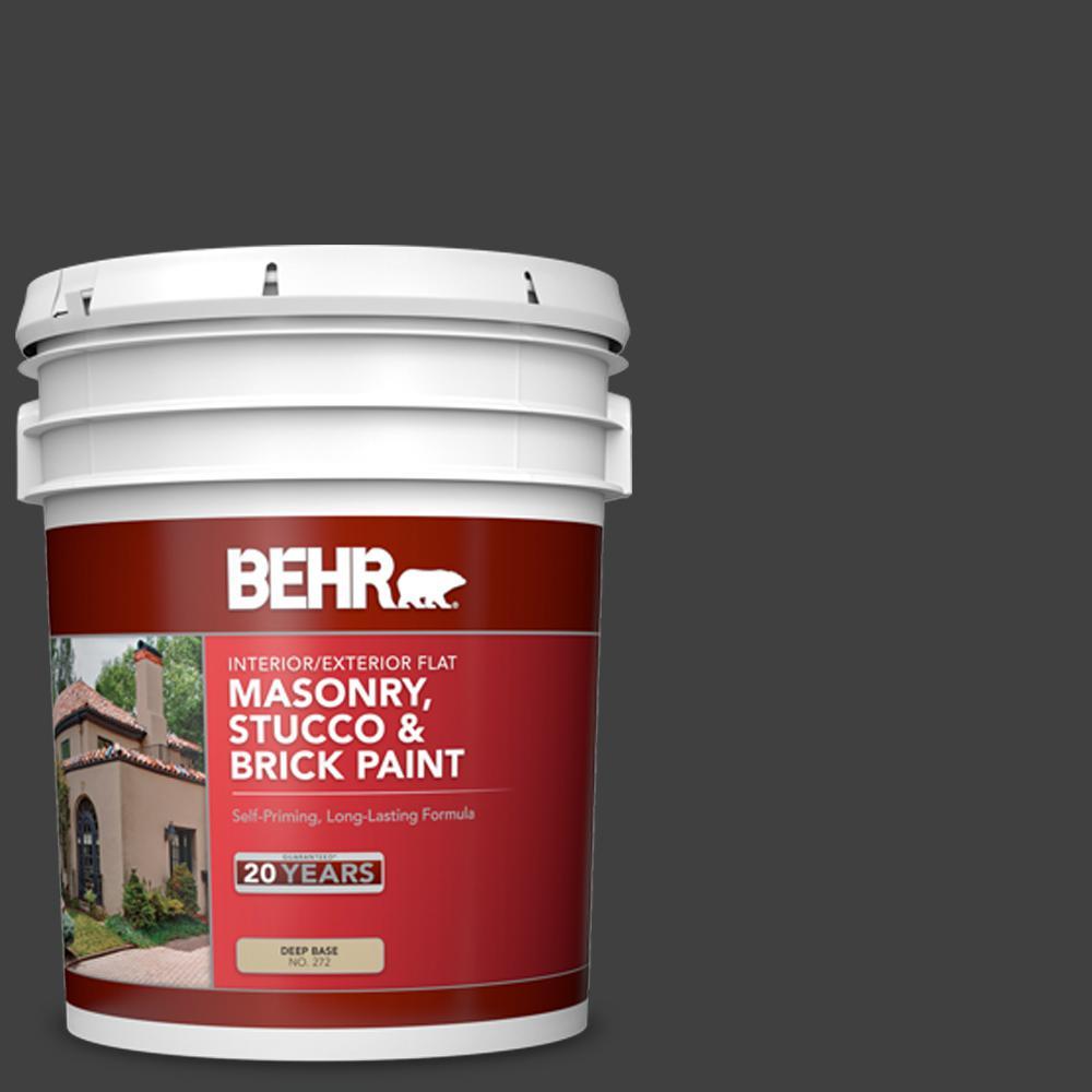 5 gal. #1350 Ultra Pure Black Flat Interior/Exterior Masonry, Stucco and Brick Paint