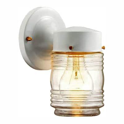 1-Light Outdoor Matte White Jelly-Jar Wall Lantern Sconce