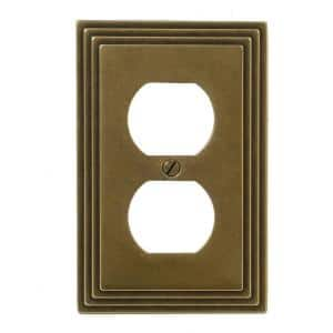 Tiered 1 Gang Duplex Metal Wall Plate - Rustic Brass