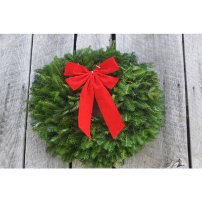 22 in. Live Fraser Fir Decorated Fresh Christmas Single Wreath With Bow