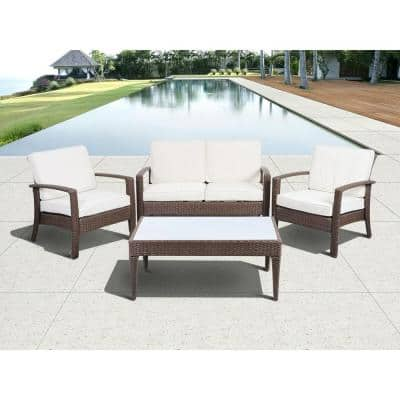 Florida Deluxe Brown 4-Piece All-Weather Wicker Patio Conversation Set with Off-White Cushions