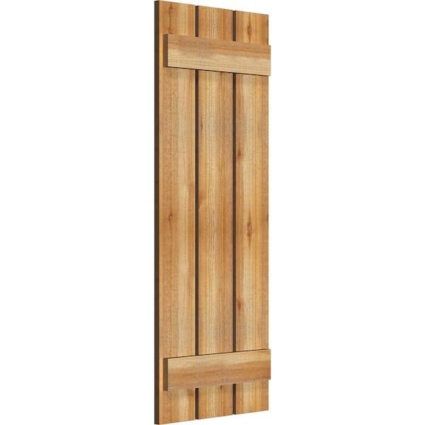 Ekena Millwork 17 1 8 X 44 Timbercraft Rustic Wood Three 5 3 8 Spaced Board And Batten Shutters Rough Sawn Cedar Pair Rbs06s17x044rwr The Home Depot