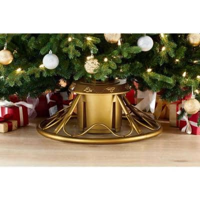 Gold Metal Rotating Tree Stand for Artificial Trees Up to 9 ft. Tall