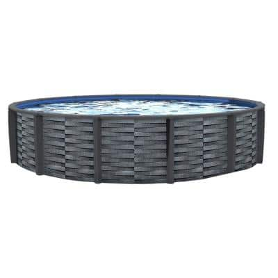 Affinity 24 ft. Round 52 in. D x 7 in. Top Rail Resin Swimming Pool Package