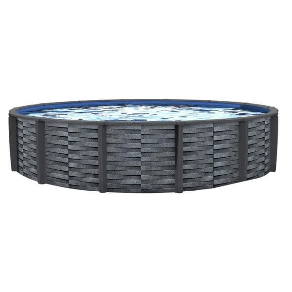 Blue Wave Affinity 24 Ft Round 52 In D X 7 In Top Rail Resin Swimming Pool Package Nb19834 The Home Depot