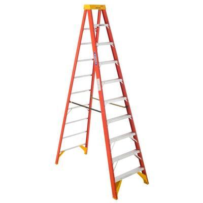 10 ft. Fiberglass Step Ladder with Shelf 300 lb. Load Capacity Type IA Duty Rating