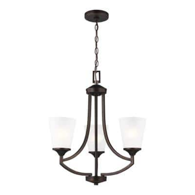 Hanford 3-Light Burnt Sienna Traditional Transitional Hanging Empire Chandelier with Satin Etched Glass Shades