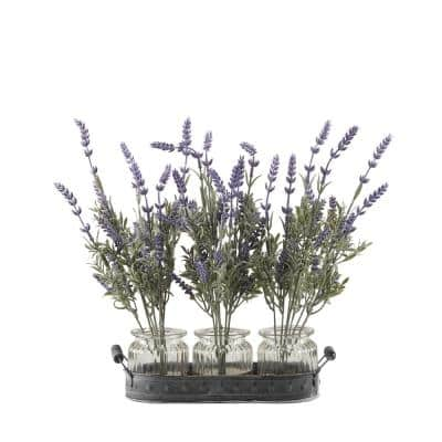 Indoor Lavender Branches in Glass Jars Set On Oval Metal Tray