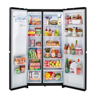 27 cu. ft. Side by Side Refrigerator with External Ice & Water Dispenser in Smooth Black Finish