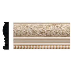 1825 1/2 in. x 2-1/4 in. x 96 in. White Hardwood Embossed Ivy/Bead Trim Chair Rail Moulding