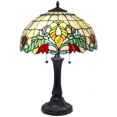 Tiffany 24 in. Multicolor Table Lamp with Stained Glass Floral Shade and Banker Base