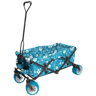 7 cu. ft. Folding Garden Wagon Carts in Blue Paw Print