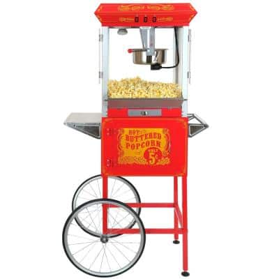 8oz Red Popcorn Popper Machine Maker Cart Vintage Style