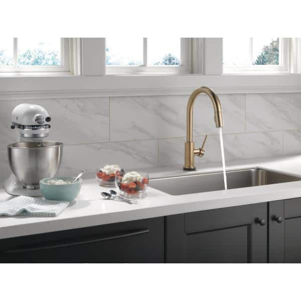 Delta - Trinsic Single-Handle Pull-Down Sprayer Kitchen Faucet with Touch2O Technology in Champagne Bronze