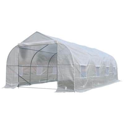10 ft. x 20 ft. x 7 ft. High Tunnel Walk-In Garden Greenhouse Kit with Plastic Cover and Roll-up Entrance - White