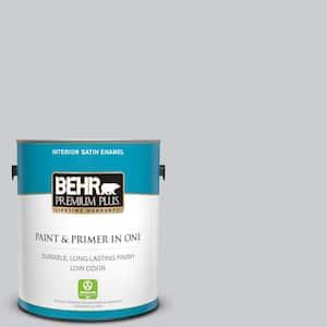 Behr Premium Plus 1 Gal 760e 2 Manhattan Mist Satin Enamel Low Odor Interior Paint And Primer In One 705001 The Home Depot