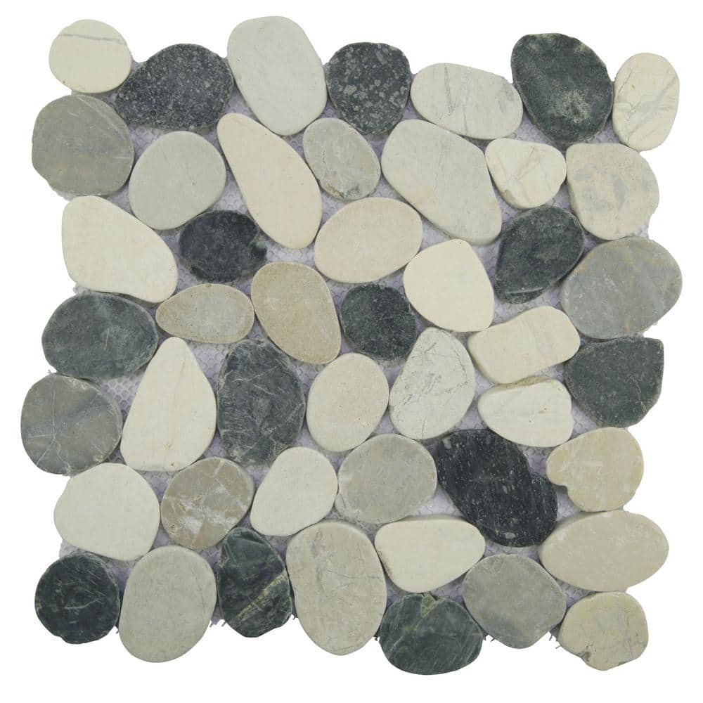 tile connection sliced pebble tile grey black white 11 5 in x 11 5 in x 9 5mm honed pebble mosaic tile 10 098 sq ft case xs3pabk the home