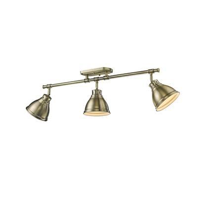 Duncan AB 3-Light Aged Brass Semi-Flush Mount Light