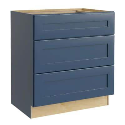 Blue Painted Plywood Shaker Stock Assembled Bath Kitchen Cabinet Vanity Drawer Base 3-Drawers (24 in. W x 21 in. D)