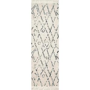 Nieves Moroccan Diamond Tassel Off-White 3 ft. x 16 ft. Runner