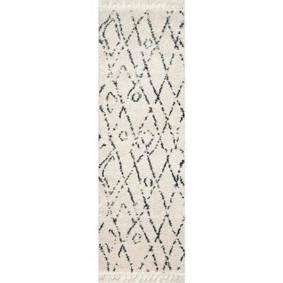 Nieves Moroccan Diamond Tassel Off-White 3 ft. x 6 ft. Runner