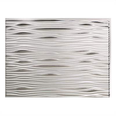 18.25 in. x 24.25 in. Waves Vinyl Backsplash Panel in Brushed Aluminum (5-Pack)