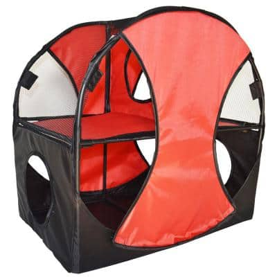 Red and Black Kitty-Play Obstacle Travel Collapsible Soft Folding Pet Cat House