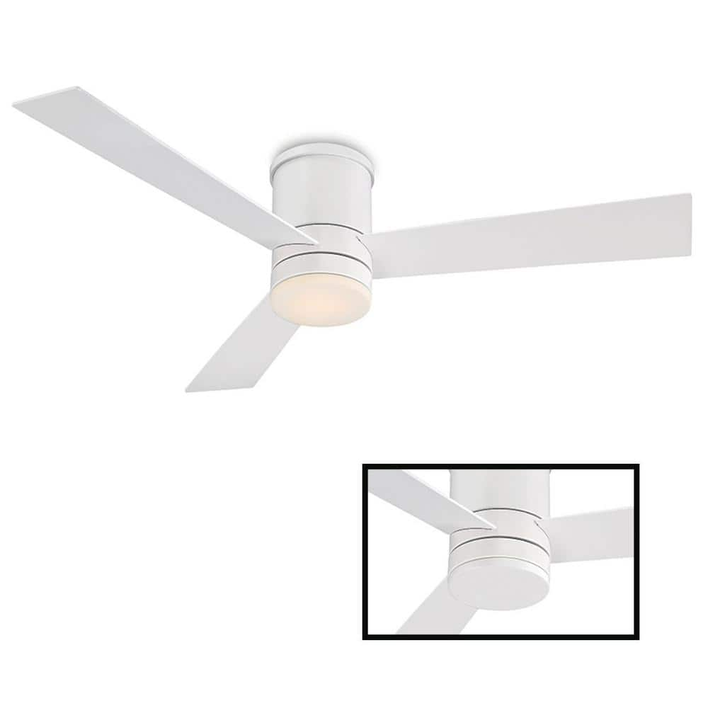 Modern Forms Axis 52 In Led Indoor Outdoor Matte White 3 Blade Smart Flush Mount Ceiling Fan With 3000k Light Kit And Wall Control Fh W1803 52l Mw The Home Depot