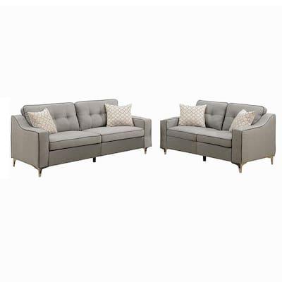 2-Piece Light Gray Bobkona Masaccio Polyfiber Sofa and Loveseat Set