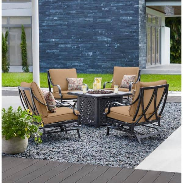 Hampton Bay Highland Point Black Pewter 5 Piece Aluminum Outdoor Patio Fire Pit Set With Cushionguard Toffee Tan Cushions H091 01523600 The Home Depot