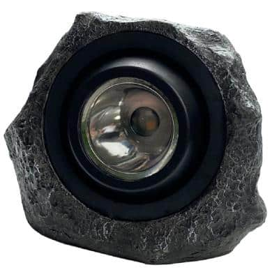 Solar Hand-Painted Integrated LED Grey Rock Spotlight with Green Light Option