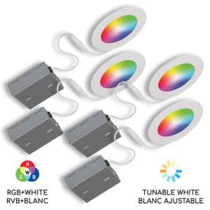 4 in. Tunable New Construction or Remodel IC Rated Smart Recessed Integrated LED Kit (4-Pack)