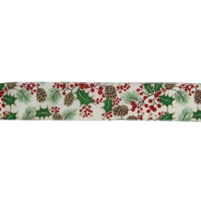 2.5 in. x 16 yds. Glitter Holly Berries and Pinecones Cream Wired Ribbon