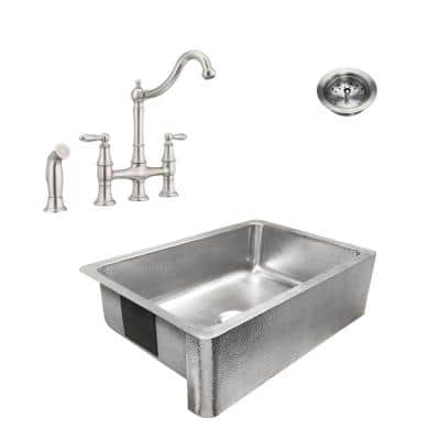Percy All-in-One Brushed Stainless Steel 32 in. Single Bowl Farmhouse Apron Kitchen Sink with Faucet and Drain