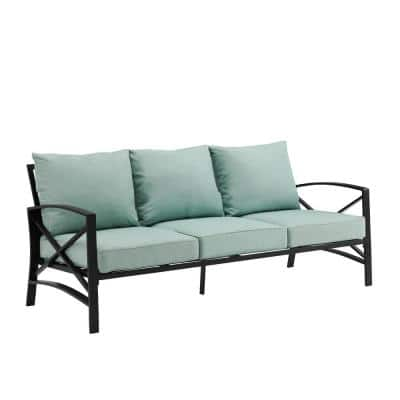 Kaplan Oil Rubbed Bronze Metal Outdoor Sofa with Mist Cushions