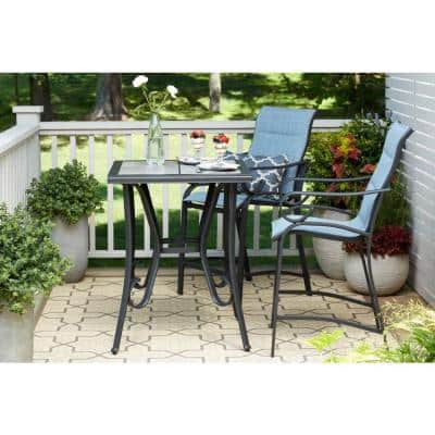 Crestridge 3-Piece Steel Padded Sling Outdoor Patio Balcony Height Bistro Set in Conley Denim