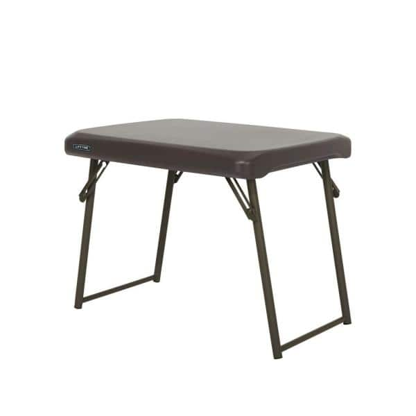 Lifetime 24 In Brown Plastic Folding Side Table 280488 The Home Depot