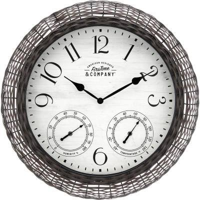Everett Rattan Dark Brown Outdoor Clock