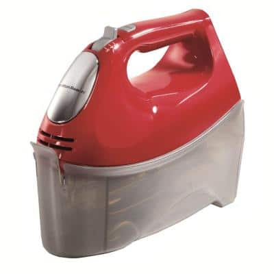 Ensemble 6-Speed Red Hand Mixer with Snap-On Case