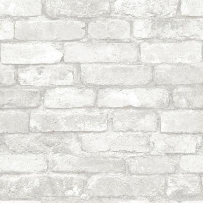 Grey And White Brick Vinyl Peel & Stick Wallpaper Roll (Covers 30.75 Sq. Ft.)