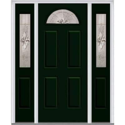 64.5 in. x 81.75 in. Heirlooms Right-Hand Inswing 1/4-Lite Decorative Painted Steel Prehung Front Door with Sidelites