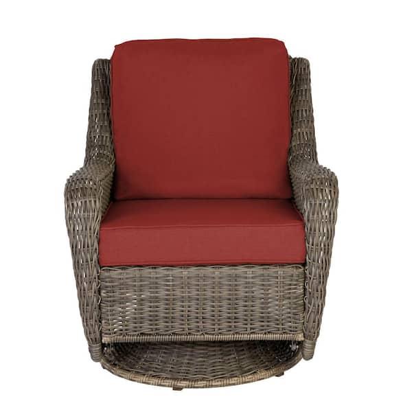 Hampton Bay Cambridge Gray Wicker, Outdoor Furniture Swivel Rocking Chairs