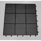 HEX-O-LITE BLACK 36 in. x 36 in. Drain- Thru Anti-Fatigue Mat