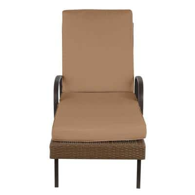 Corranade Brown Wicker Outdoor Patio Chaise Lounge with Standard Toffee Solid Cushions