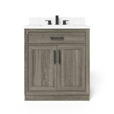 Pittsford 30 in. W x 21 in. D Vanity in Aged Grey with Ceramic Vanity Top in White with White Basin