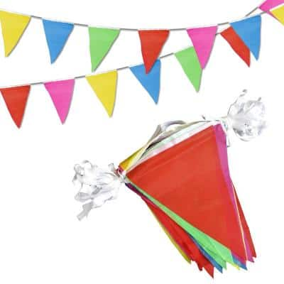 8 in. x 11 in. 75 Multi-Color Bunting Flags Pennant Banner Birthday Party Grand Opening Decorations